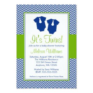 "Little Man Chevron Blue Green Twins Baby Shower 5"" X 7"" Invitation Card"