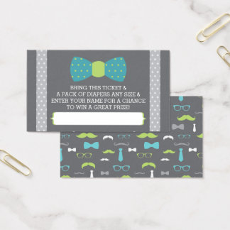 Little Man Diaper Raffle Ticket, Teal, Lime, Gray Business Card