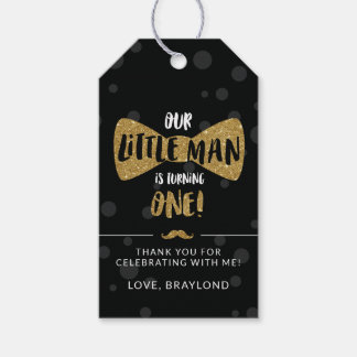 Little Man First Birthday Favor Tags, Gold Gift Tags
