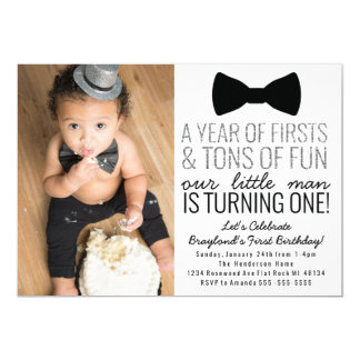 Little Man First Birthday Invitation