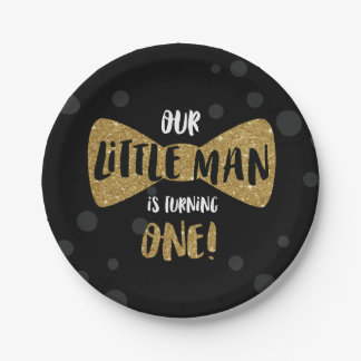 Little Man First Birthday Paper Plates, Gold Paper Plate