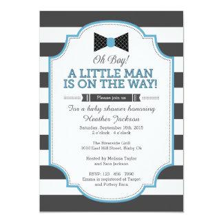 Little Man Invitation, Bow Tie Invitation 5x7