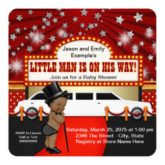 Little Man Limousine Movie Star Ethnic Baby Shower Card