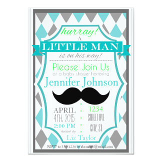 Little Man Moustache Baby Shower Invitations