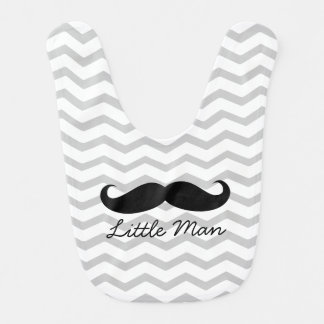 Little Man Moustache Chevron Cute Boys Bib