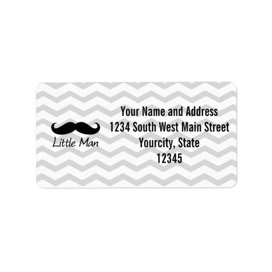 Little Man Moustache Chevron Cute Boys Label
