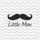 Little Man Moustache Chevron Cute Boys Square Sticker