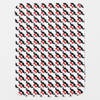 Little Man Mustache and Red Bowtie Funny Baby Blanket