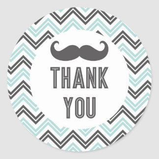Little Man Mustache Chevron Thank You Sticker