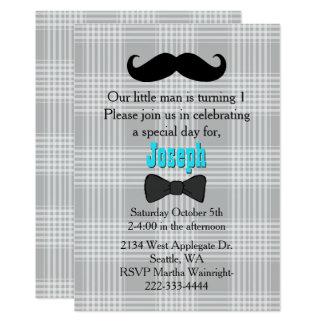 Little Man Mustache First Birthday Invitation