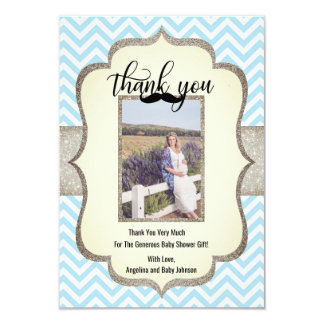 Little Man | Mustache Theme THANK YOU Baby Shower Card