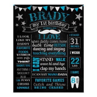 Little Man Mustche Onederful Birthday chalkboard Poster