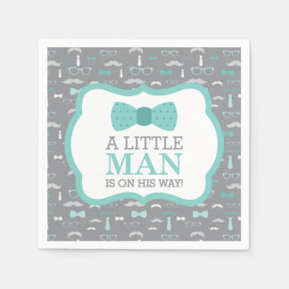 Little Man Napkin, Turquoise and Gray Paper Napkin