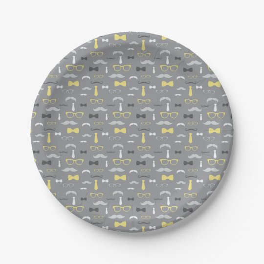 Little Man Paper Plate, Yellow, Grey 7 Inch Paper Plate