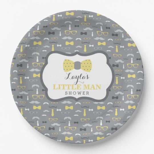 Little Man Paper Plate, Yellow, Grey 9 Inch Paper Plate