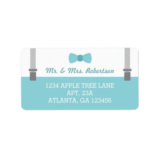 Little Man Return Address Label, Aqua and Grey