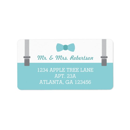 Little Man Return Address Label, Aqua and Grey Label