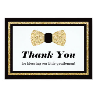 Little Man Thank You Card, Black Faux Glitter Card