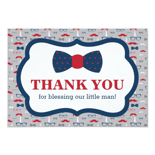 Little Man Thank You Card, Red, Navy Blue Card