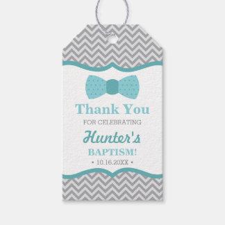 Little Man Thank You Tag, Aqua, Gray, Baptism Gift Tags