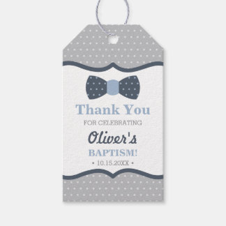 Little Man Thank You Tag, Blue, Gray, Baptism Gift Tags