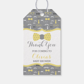 Little Man Thank You Tag, Yellow, Gray, Bow Tie Gift Tags
