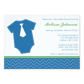 "Little Man Tie Bodysuit Blue Green Boy Baby Shower 5"" X 7"" Invitation Card"