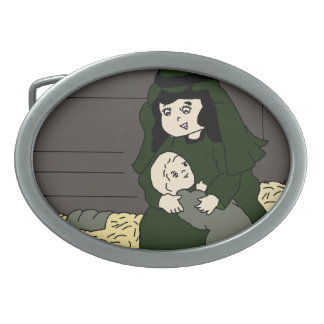 Little Mary and Baby Jesus in Green Oval Belt Buckles
