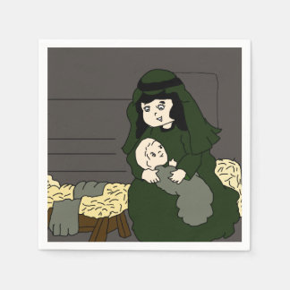 Little Mary and Baby Jesus in Green Paper Napkins