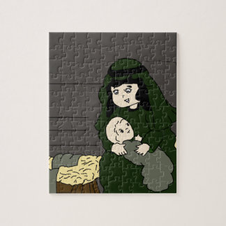 Little Mary and Baby Jesus in Green Puzzle