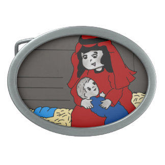 Little Mary and Baby Jesus in Red Belt Buckles