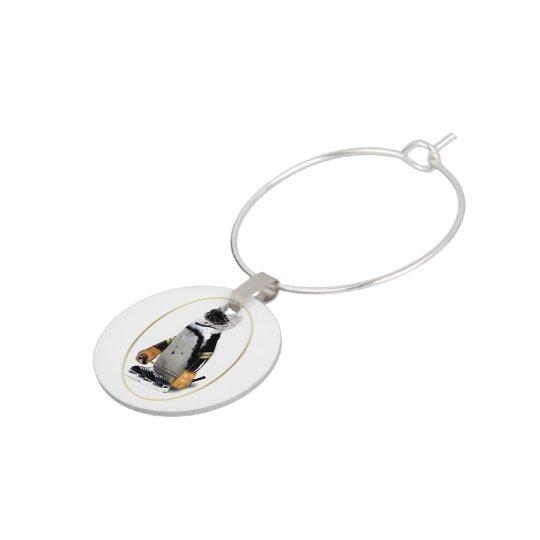 Little Mascot Hockey Player Penguin Wine Glass Charms
