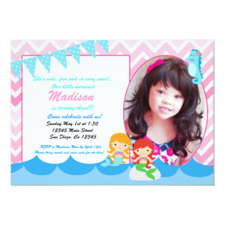 Little Mermaid girls birthday party invitation