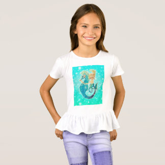 Little Mermaid Glitter Ruffle Top for girls