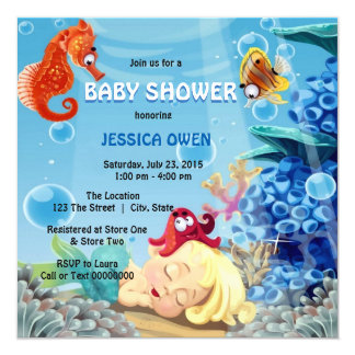Little Mermaid Merman Under the Sea Baby Shower Card