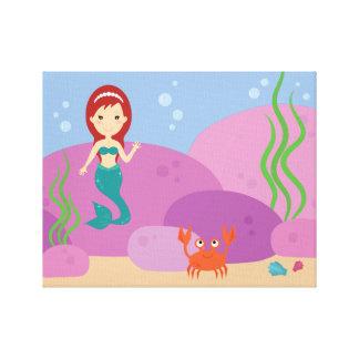 Little mermaid nursery kid's room camvas print