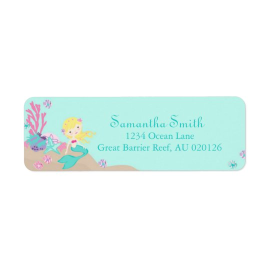 Little Mermaid Return Label Blonde Return Address Label
