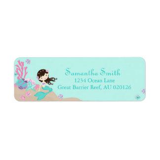 Little Mermaid Return Label Brunette Return Address Label