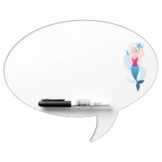 Little mermaid with mirror and wave illustration dry erase board