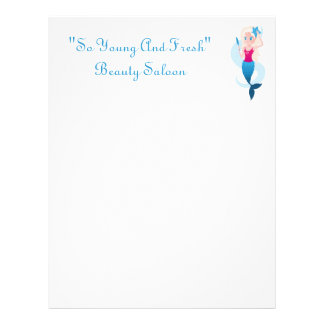 Little mermaid with mirror and wave illustration letterhead design