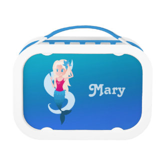 Little mermaid with mirror and wave illustration lunch boxes