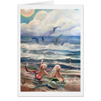 little Mermaids and Dolphins Card
