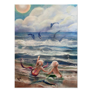 Little Mermaids and Dolphins Poster