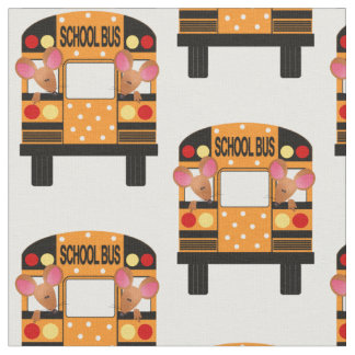 Little Mice Riding Schoolbuses Fabric