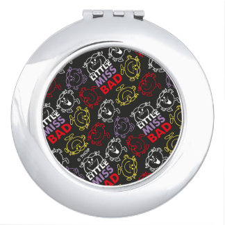 Little Miss Bad | Black, Red & Yellow Pattern Compact Mirror