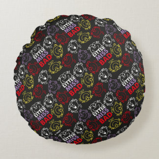 Little Miss Bad | Black, Red & Yellow Pattern Round Pillow