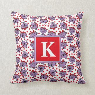 Little Miss Bad | Red Polka Dot Pattern | Monogram Throw Pillow