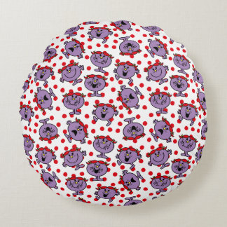 Little Miss Bad | Red Polka Dot Pattern Round Pillow