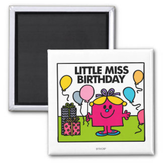 Little Miss Birthday | Presents & Balloons Square Magnet