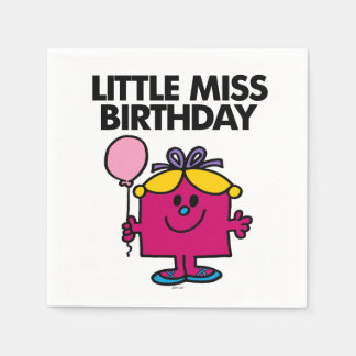 Little Miss Birthday With Pink Balloon Paper Napkin